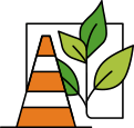 Icon of a safety cone and plant